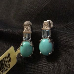 NWT STERLING AND TURQUOISE DROP EARRINGS